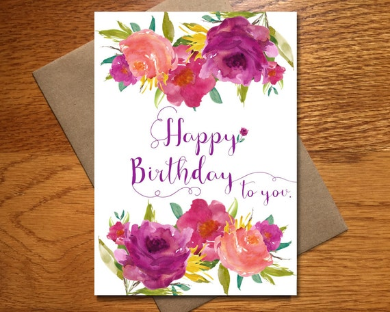 Every day spirit watercolor happy birthday card for her every day spirit watercolor happy birthday card for her floral birthday card beautiful birthday card pretty birthday card 5x7 bookmarktalkfo Image collections