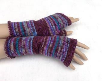 Fingerless gloves, knit purple gloves, women arm warmers, striped fingerless mittens, winter gloves, spring wrist warmers, boho gloves
