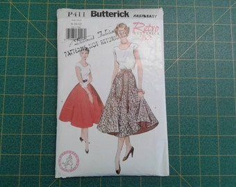 Fast and Easy Retro Butterick P411, Top and Flared Skirt, Reprint of 1952 pattern, Poodle Skirt style, Sizes 8,10,12, UNCUT, SWING TIME