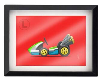 "5""x7"" Luigi Kart illustration"
