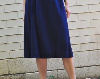 Vintage 70s Minimal Navy Royal Blue Wool Knee Length Midi Skirt, Size 28 Waist