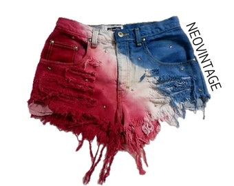 SALE - LIMITED TIME Patriotic American Flag Fourth of July Tie Dyed High Waisted Hipster Festival Fringed Denim Shorts