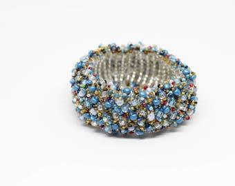 Blue Cuff Beaded Bracelet