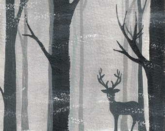 Postcard Winter Forest, Illustrated Postcard, Aquarel, Gouache and Soft Pastels