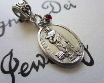 St Agatha Medal & Dk Red Glass Charm Pendant, Patron Saint Rape Victims - Breast Cancer
