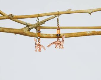 Gold Brontosaurus Earrings