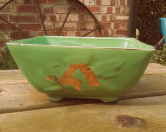 Vintage Mid Century 1950's Green and Gold Oriental California Pottery Chinoiserie style dish planter