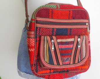 Vintage Plaid Kilim Multicolor Crossbody Bag