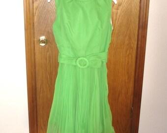 Vintage Green Dress, Pleated Dress, Ruffled Dress, Cocktail Dress, Party Dress, Vintage Fashion, Bright Green Dress, Retro, Spring Dress