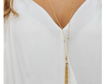 gold tassel necklace • long gold tassel necklace • long tassel necklace • gold layered necklace • beaucoupdebeads • B137