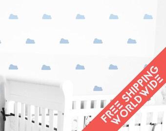 Clouds Blue light pastel Wall Decals Decor Stickers Nursery Baby Boy Sky Pattern Modern & Scandinavian - Sets of 25