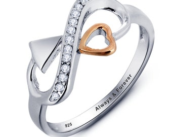 Sterling silver infinity cubic zirconia heart personalised engraved couple love ring