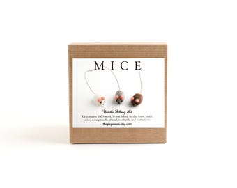 DIY Kit - Mice Needle Felting Kit - Needle Felted Animal Kit - Craft Kit