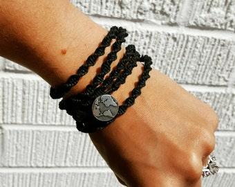 Long Black Macrame Hemp Necklace Wrap Bracelet Antique Silver Indie Hemp Works Design Brand Simple Collection Minimal Earth Hippie Boho Chic