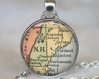 New Hampshire map pendant, New Hampshire map necklace map jewelry New Hampshire necklace keychain key chain key ring key fob