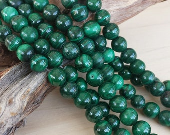 Malachite Round Beads >> 5mm Rounds - Full or Half Strand > Natural, Genuine, Gemstone, High-Quality, Light to Deep Green