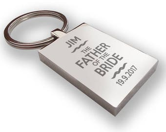 Personalised engraved FATHER of the BRIDE keyring wedding gift, thank you favour - RP6