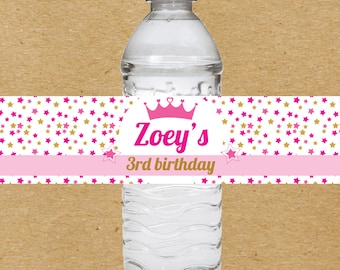 Princess Water Bottle Labels, Princess Birthday Water Bottle Stickers, Personalized Princess Party Favors, Girls Birthday Party Favors
