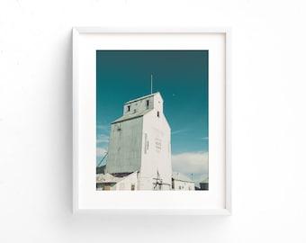 "landscape photography, grain elevator, minimalist landscape, large wall art, large art prints, blue, aqua, white, prints - ""Tests of Time"""