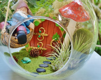 "Sleeping Gnome Terrarium Kit ~ 8"" Air Plant Terrarium Kit ~ Gnome in a Hammock ~ Mushroom, Sand, and Moss Choice ~ Fairy Garden Kit ~ Gift"