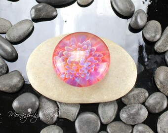 Pink Flower Lampwork Glass Cabochon - 32mm - Jewelry Making Supply