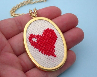 Embroidered Heart Necklace - Gold, Red, Embroidered Necklace, Gold Heart Necklace, Embroidery, Red Heart Necklace