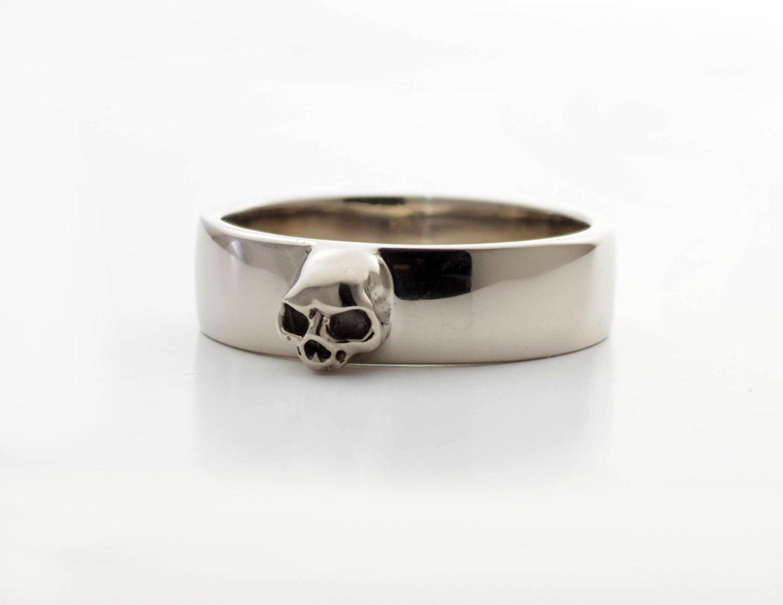 Grooms Skull Ring Mens Skull Wedding Band Goth Groom Ring