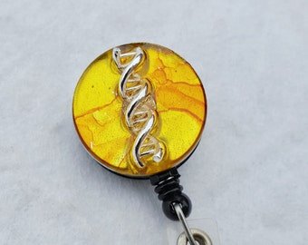 DNA double helix name badge holder with a yellow background