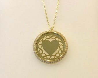 Circle Heart Pendant Necklace