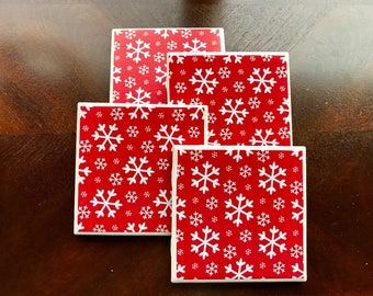Snowflake Coasters, Snowflake Drink Coasters, Red Snowflake Coasters,  Holiday Drink Coasters, Holiday Pictures