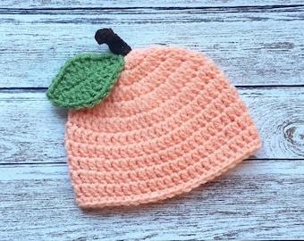 Crochet Baby Hat Peach Baby Hat Beanie Fruit Hat Baby Girl Hat Toddler Hat Baby Shower Gift