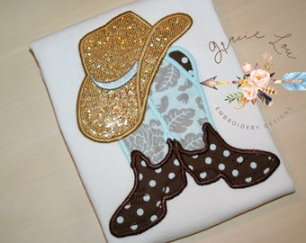"""Cowboy boots with hat embroidery design 4""""x4"""" and 5""""x7"""", Cowboy embroidery design, cowgirl embroidery design, appliqué, embroidery design"""