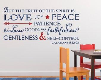 Galatians 5:22 Fruit of the Spirit love joy peace patience kindness gentleness faithfulness self control Bible Scripture Decal GAL5V22-0007