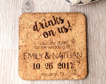 Rustic save the date coasters or magnets, save the dates, wedding save the dates, save the date coasters, save the date magnets, 25 pc