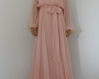 Miss Elliette 1960s Blush Pink Old Hollywood Gown California Glam Chiffon with Embroidered Lace/L