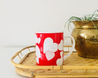 Vintage Red Heart Mug Red White Hearts Coffee Mug 90s Ceramic Cup Valentine Day