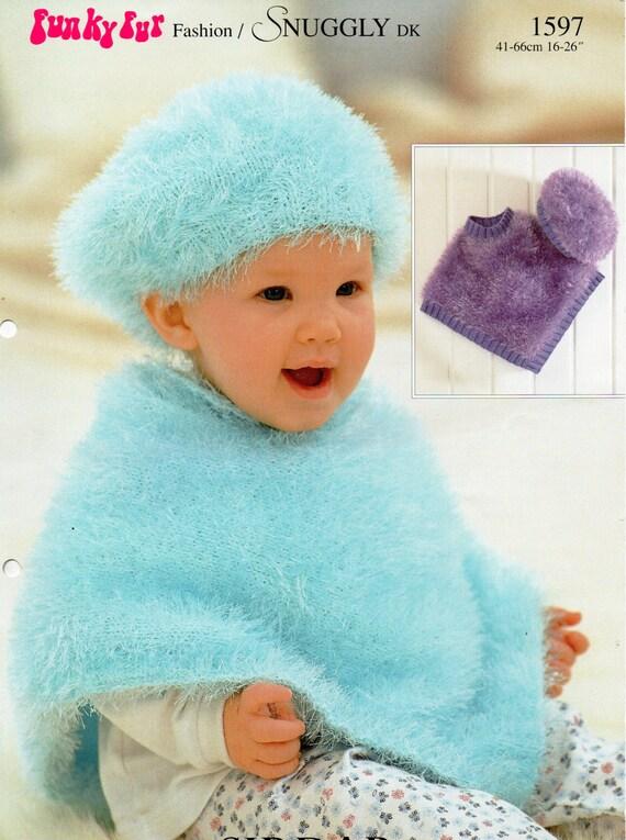 Baby Knitting Pattern Baby Furry Poncho Beret Baby Poncho Toddler