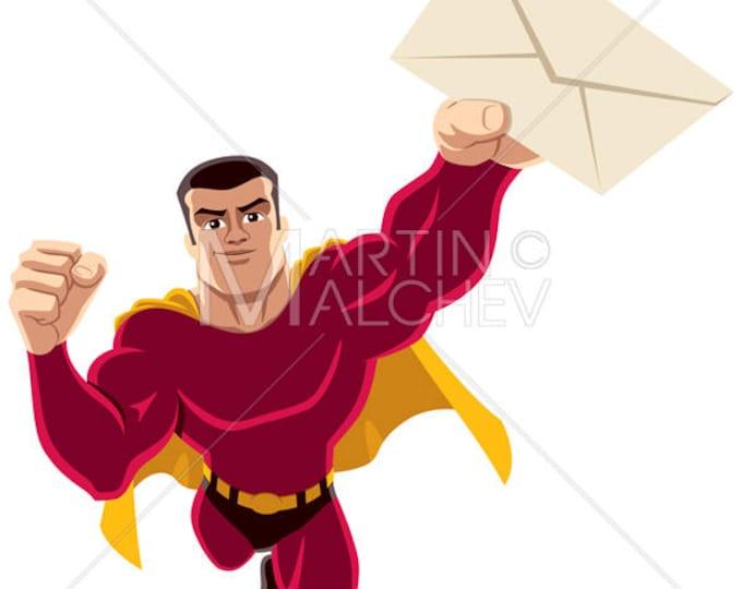 Superhero Flying Envelope - Vector Cartoon Clipart Illustration. super, hero, man, power, letter, message, bringing, carrying, delivering,