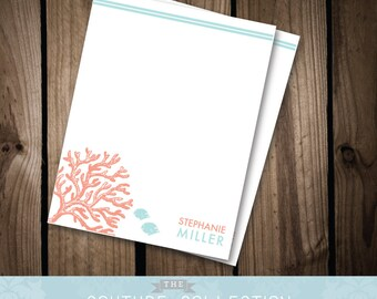 CORAL Note Card - Modern, Beachy Printable DIY Digital File - Personal Stationery