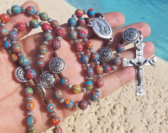 Our lady of Fatima/Trinity crucifix ~Multi color gemstone bead Rosary,Ornate  silver Plated Pater Beads