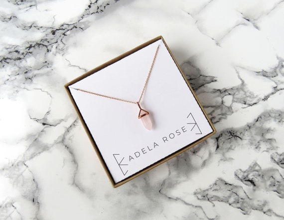 Dainty Rose Quartz Necklace, Pendant Necklace, Dainty Necklace, Dainty Jewlery, Everyday Jewelry, Rose Gold Jewelry, Statement Jewelry, Boho