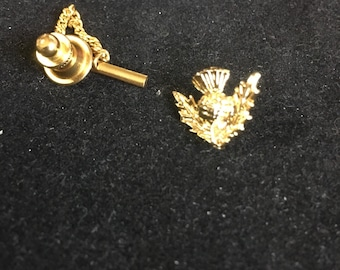 Vintage Thistle Tie Pin Chain Goldtone