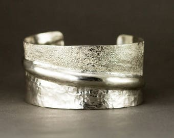 Sterling Fold Formed Cuff Bracelet  - Dual Texture Statement Cuff