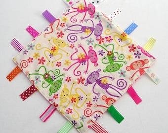 Baby Girl's Taggie, Baby Girl's Taggy, Girl's  Lovey Lovie,  Minky Dot,  Ribbon Blanket,  Comforter Blanket, Blankie- Monkeys