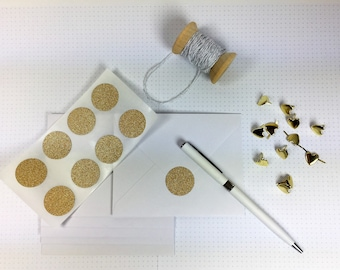 Glitter Circle Stickers - Envelope Seals - Pack of 24 - Gold or Silver