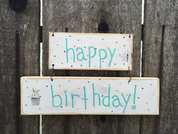 Happy Birthday Hanging Sign Rustic Decor Wooden