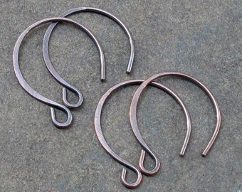Antiqued Copper Handmade Earwires, Heavier 18 gauge Hammered Hoopy Hooks (2pr) Balloon Earwires - Made to Order