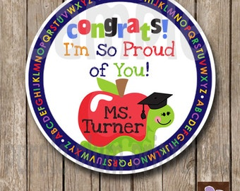 Personalized - Graduation Tag - Class of 2015 Graduation - From Teacher - Print at Home