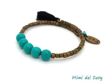 Gypsy bracelet turquoise beads cubes black tassel brass bronze