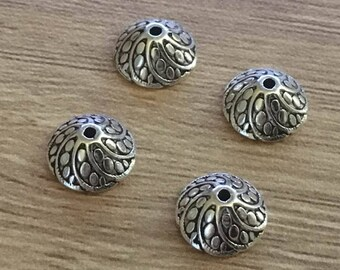 set of 10 Tibetan silver caps 8 mm